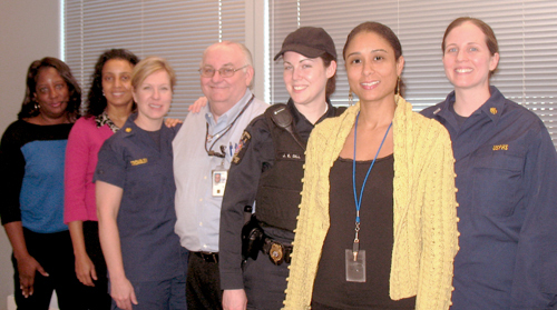 To The Rescue:  (Left to Right) Monica Sivills (HAB); Hanna Endale (HAB); Tina Trombley (HAB); Gene Robinson (IHS); Off. J.E. Gill (Montgomery County Animal Services Division); Stephanie Stines (HAB); Elizabeth Goodger (HAB). Not shown, Wendy Cousino.